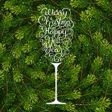 Holiday gift card with hand lettering Merry Christmas and Happy New Year in the form of a glass of champagne on Royalty Free Stock Photos