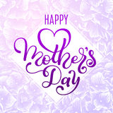Holiday gift card with hand lettering Mother`s Day and flowers background. Template for a banner, poster, flyer Royalty Free Stock Photo