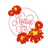 Holiday gift card with hand lettering Mother`s Day and flowers. Template for a banner, poster, flyer, invitation Royalty Free Stock Image