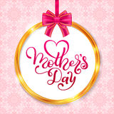 Holiday gift card with hand lettering Mother`s Day in the golden circle frame. Template for a banner, poster, flyer Royalty Free Stock Photography