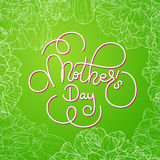 Holiday gift card with hand lettering Mother`s Day on green flowers background. Template for a banner, poster, flyer Royalty Free Stock Photos