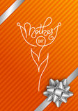 Holiday gift card with hand lettering Mother`s Day on orange background. Template for a banner, poster, flyer Royalty Free Stock Images