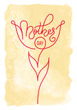 Holiday gift card with hand lettering Mother`s Day on a vintage watercolor background. Template for a banner, poster Royalty Free Stock Photography
