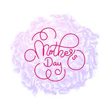 Holiday gift card with hand lettering Mother`s Day on violet flowers background. Template for a banner, poster, flyer Royalty Free Stock Photos
