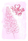 Holiday gift card with hand lettering Mother`s Dayon a pink watercolor background. Template for a banner, poster, flyer Stock Photos