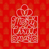 Holiday gift card with white hand lettering Merry Christmas with seamless golden pattern on red background. Vector illustration for your design Royalty Free Stock Images