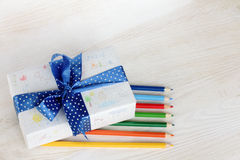 Holiday gift coloring Royalty Free Stock Photo