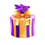 Holiday gift with gold ribbon Royalty Free Stock Photo