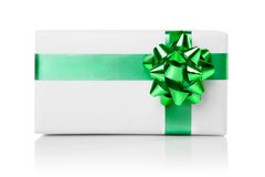 Holiday gift with green ribbon isolated Stock Photography