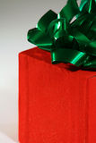 Holiday gift - half. Holiday gift wrapped up in a box royalty free stock photos