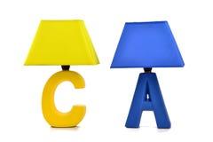 Holiday gift,led table lamp, desk lamp,desk lighting,art light, Art lamp,art lighting,Keepsake,cartoon lamp. Yellow blue led table kighting,Table lamp royalty free stock image
