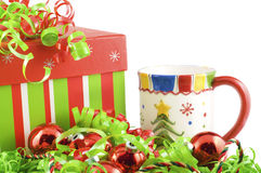 Holiday Gift with Mug and Decorations Stock Photos