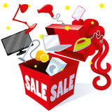 Holiday gift packaging box with bow sale prices objects of different household appliances, computers, laptops Stock Image