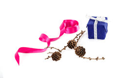 Holiday gift, pink ribbon and a branch of pine tree with cones Royalty Free Stock Photos
