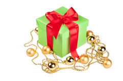Holiday gift with ribbon red bow Royalty Free Stock Image