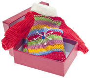 Holiday Gift of Sweater in Box Royalty Free Stock Photo