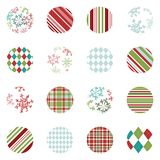 Holiday Gift Tag, Sticker or Label Set. Set of 16 small 2`x 2` circle gift tags, stickers or labels Royalty Free Stock Images