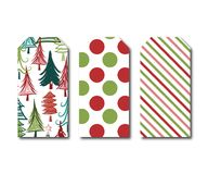 Holiday Gift Tags. Set of three hanging gift tags Stock Images