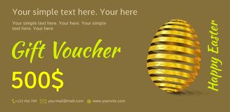 Holiday gift voucher. Easter coupon sales. vector illustration