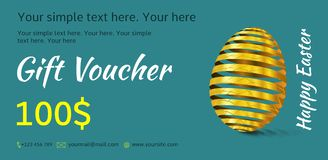 Holiday gift voucher. Easter coupon sales. Flyer turquoise color with golden Easter egg. Attractive discount for 100 dollars. Template A5 width Vector Illustration