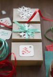 Holiday gift wrapping, gift box, packaging process, packaging materials Royalty Free Stock Photo