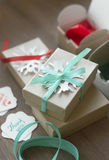 Holiday gift wrapping, gift box, packaging process, packaging materials Royalty Free Stock Photos