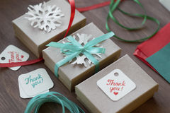 Holiday gift wrapping, packaging process, packaging materials Royalty Free Stock Photography