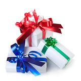 Holiday gifts with color ribbons isolated Royalty Free Stock Photography