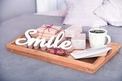 Holiday, Gifts, drinks, good mood,morning coffee. Holiday, Gifts, drinks, good morning mood good day Royalty Free Stock Photo