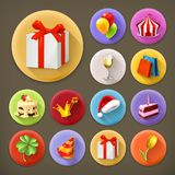 Holiday and gifts, icon set Royalty Free Stock Photography