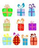 Holiday gifts with ribbons Royalty Free Stock Photos