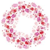 Holiday gifts vector poster design. Illustration with pink boxes royalty free illustration