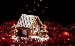 Holiday Gingerbread house on dark background Royalty Free Stock Photography