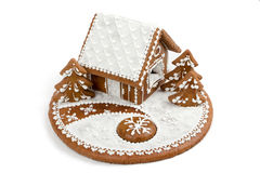 Holiday Gingerbread house isolated on white. Stock Image
