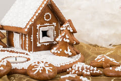 Holiday Gingerbread house on white. Royalty Free Stock Images