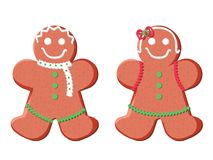 Holiday gingerbread man cookie. Cookie in shape of man with colored icing. Happy new year decoration. Merry christmas. Holiday gingerbread man and woman cookie vector illustration