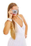 Holiday girl making picture Royalty Free Stock Photo
