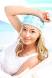 Holiday girl in shades of blue. Royalty Free Stock Image