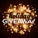 Holiday giveaway  card with bokeh effect at dark Stock Photos