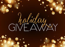 Holiday giveaway card with bokeh effect at dark Royalty Free Stock Photo
