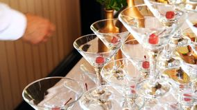The holiday glass. Es with table setting stock video footage