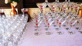 The holiday glass. Es with table setting stock footage