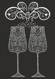 Holiday glasses with decorative pattern.Black and white Royalty Free Stock Photo