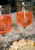 Holiday Glasses of Wine Stock Photography
