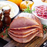Holiday glazed sliced ham stock photo