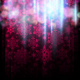 Holiday glitter background. EPS 10. Magic pink holiday abstract glitter background with blinking light and falling snowflakes. Blurred bokeh of Christmas lights Royalty Free Stock Photos