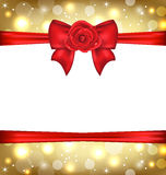 Holiday glossy packing with gift bow and rose Royalty Free Stock Photos