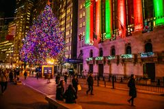 Holiday Glow of Wall St stock image