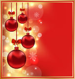 Holiday glowing background with Christmas balls Stock Image
