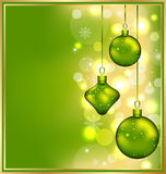 Holiday glowing invitation with Christmas balls Royalty Free Stock Photography